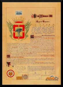 """Concedido por el Rey Alfonso XIII el 15 de febrero de 1905 junto con el título de """"la Muy Noble y Leal""""."""