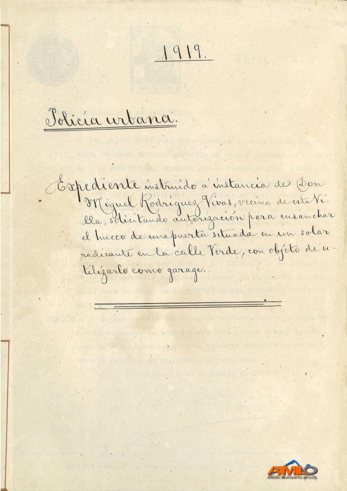 Obra Miguel Rodríguez Vivas en Calle Verde 1919