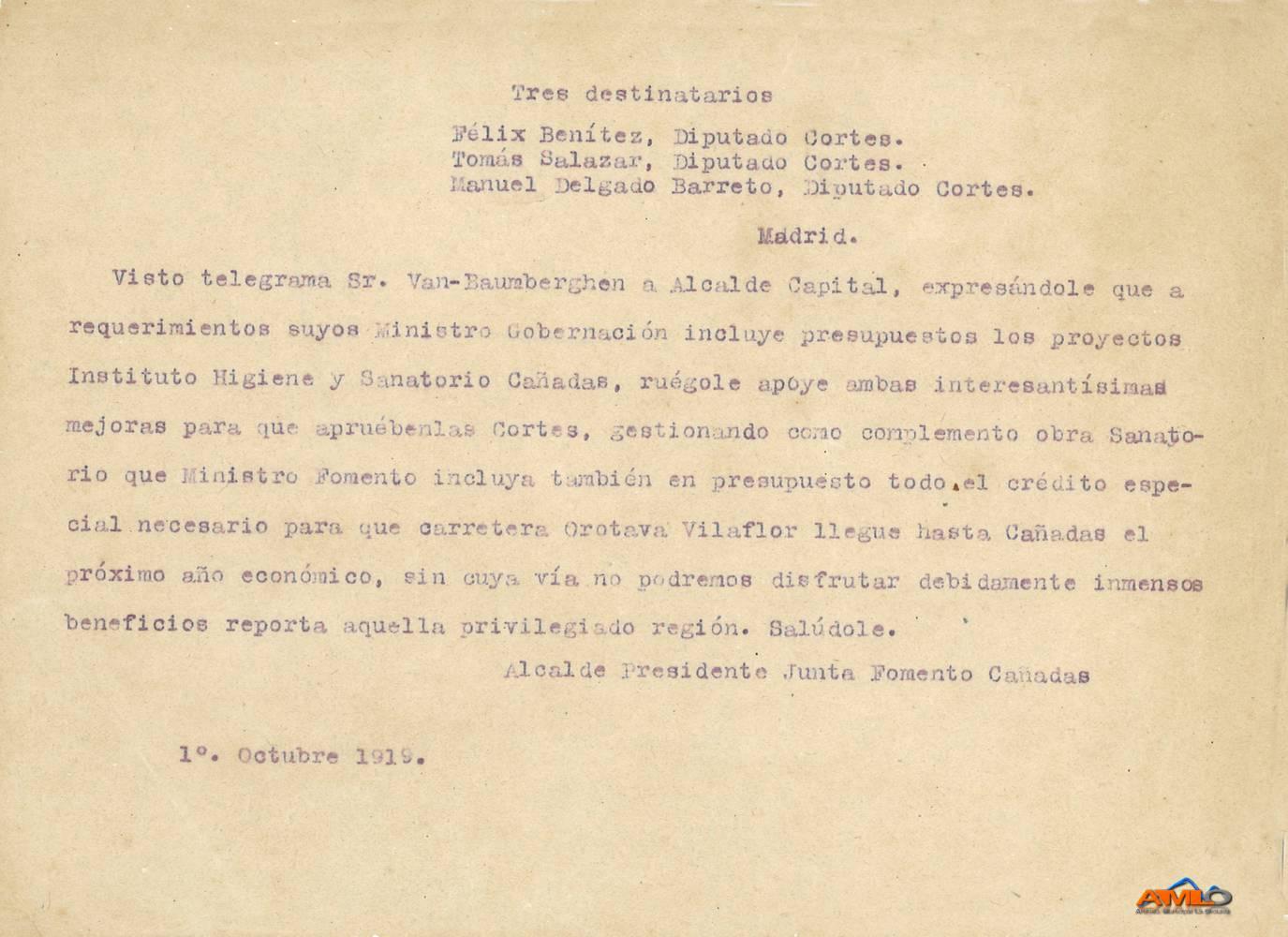 Telegrama presupuesto Instituto de Higiene y Sanatorio de Las Cañadas